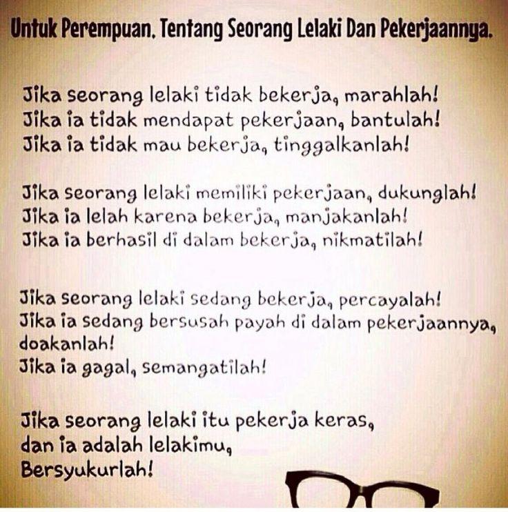 quot;Buat Perempuan tentang LakiLaki Pekerjaquot;  Luculucuan Bahasa Indonesia  Pinterest  Hard to