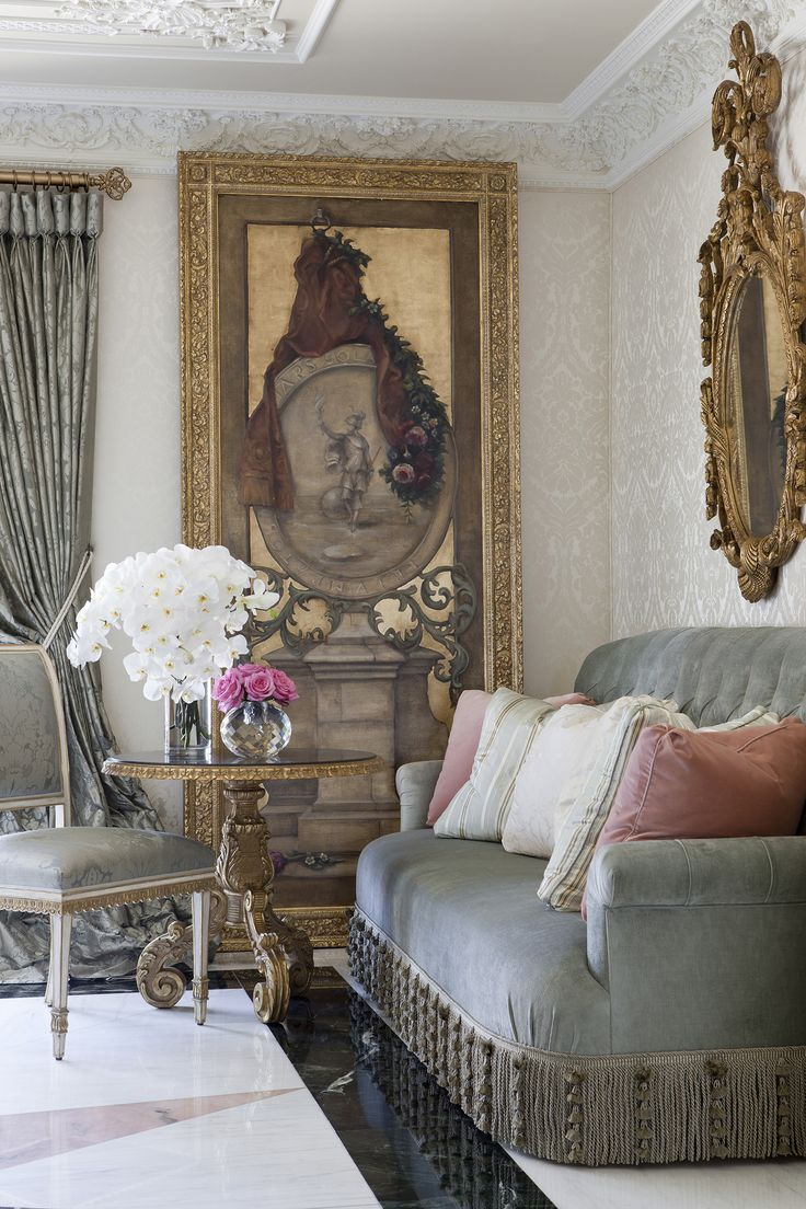 Salon at Maison de Ville: a Parisian pied-a-terre by @ebanistacollect. Featuring our Montmartre Side Chair, Artemisia I Painting, and Amboise Sofa. Discover more at www.ebanista.com. #FrenchInteriorDesign