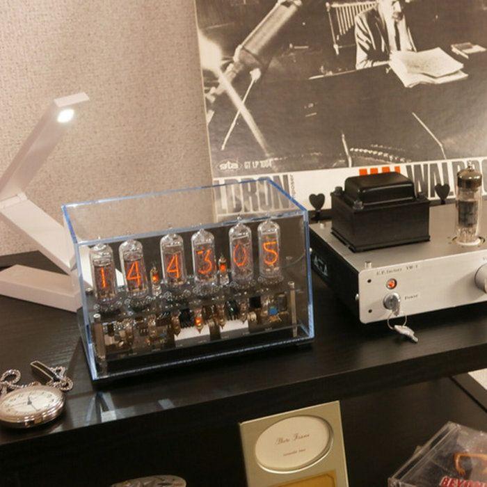 【送料無料】ニキシー管時計ME-1(IN-14)【ニキシー管時計置き時計アンティークおすすめ時計置時計かわいい雑貨おもしろおしゃれnixieニキシーインテリアデザイン】