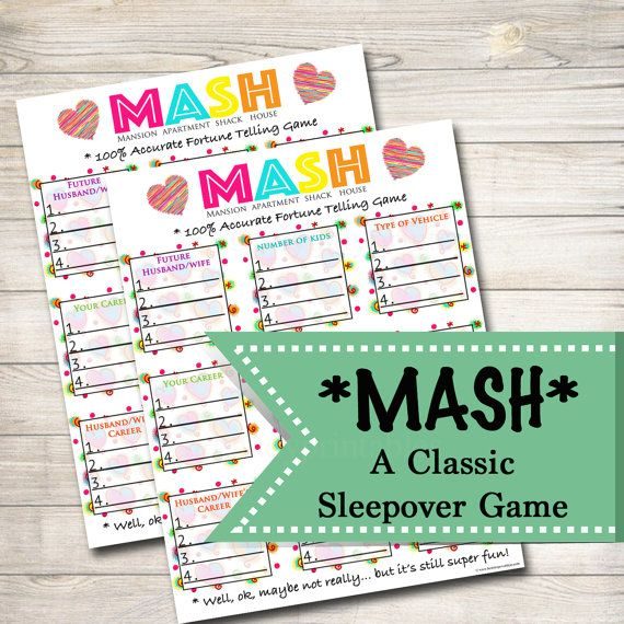 This super fun and simple printable sleepover game will have guests playing and laughing all night long! All you need is this printable MASH game, a printer, a pencil and some friends to play this classic sleepover game!  Upon purchase you will receive two printable PDF files. One full size (8.5 x 11″) MASH GAME and one page with two half-sheet MASH games. Both play the same, they are just different sizes depending on your preference. Simply print and start playing!  How to Play:  One player…