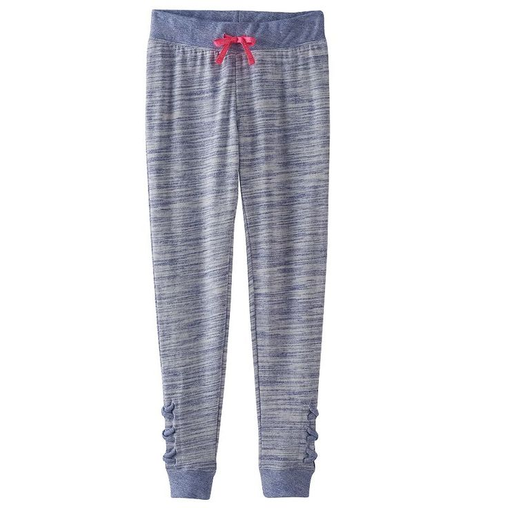 Girls 7-16 & Plus Size SO® Space-Dyed Lattice Hem Jogger Pants, Size: 18 1/2, Dark Blue