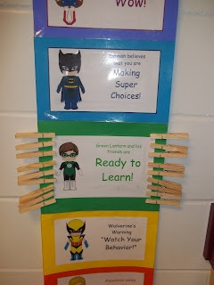 First Grade Super Friends  superhero behavior clip chart...i feel this could ve modified for at home behaviors too
