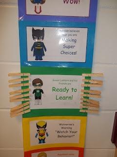 First Grade Super Friends  superhero behavior clip chart