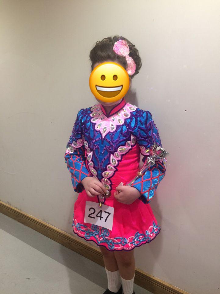 Impressive Pink Devlin Designs Irish Dance Dress Solo Costume For Sale