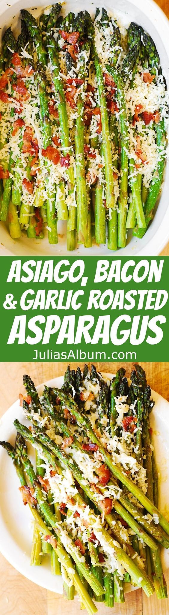 Asiago Cheese, Bacon, and Garlic Roasted Asparagus - THE BEST WAY to cook asparagus! Healthy, gluten free recipe. Perfect side dish or breakfast (along with scrambled or poached eggs).