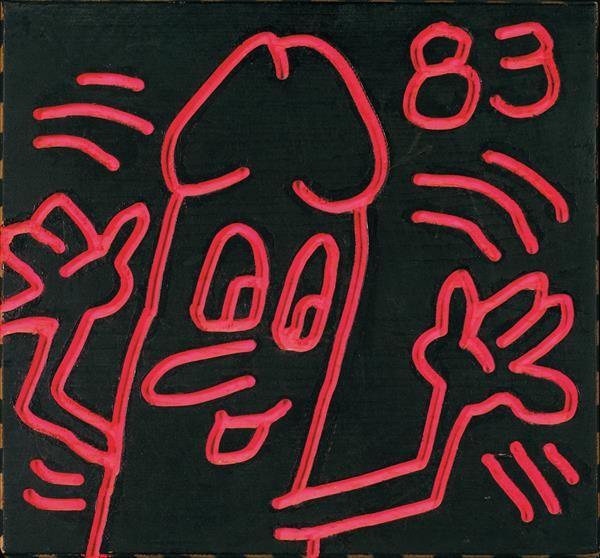 """A PROMINENT 20TH CENTURY EUROPEAN COLLECTION December 8th Keith #HARING (1958-1990) Sans titre (Daisy Dick), 1983 Acrylique sur panneau incisé Datée 83 en haut à droite Signée, datée et dédicacée """"For David D., Love, Keith Merry Christmas"""" au dos 28 x 29,5 cm Estimation : € 60,000-80,000"""