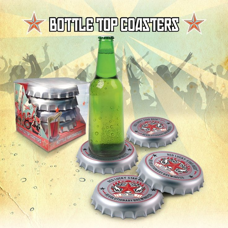 Bottle Top Drink Coasters  #gift #cool #santa #gifts #mzube #birthday #quirky #shopping #stocking #sale   http://www.mzube.co.uk