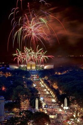 Fourth of July Philadelphia - Fireworks at Penn's Landing behind the Art Museum