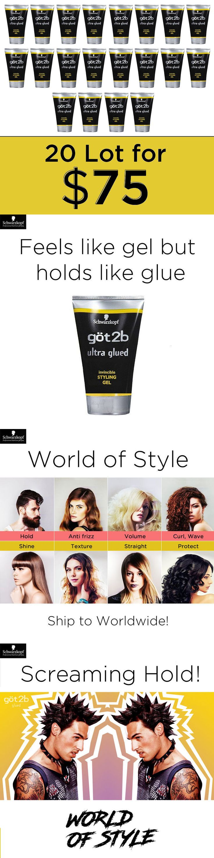 Styling Products: Got2b (Lot 20) Ultra Glued Invincible Styling Hair Gel 1.25 Oz By Schwarzkopf -> BUY IT NOW ONLY: $75 on eBay!