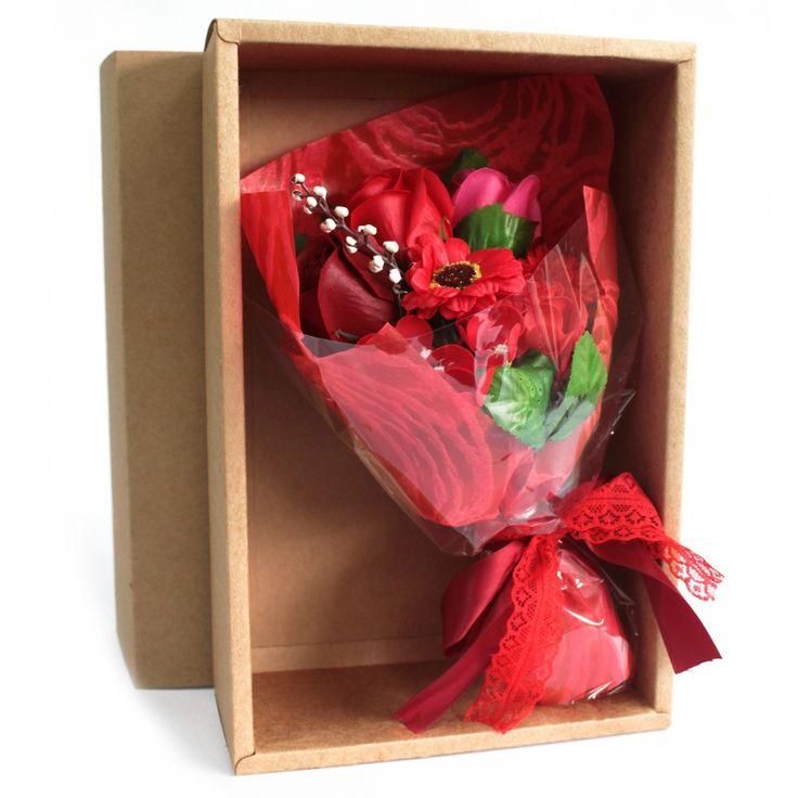 Seifenblumenbouquet in Schachtel- rot  - JB-Megastore ihr Onlineshop für Naturkosmetik