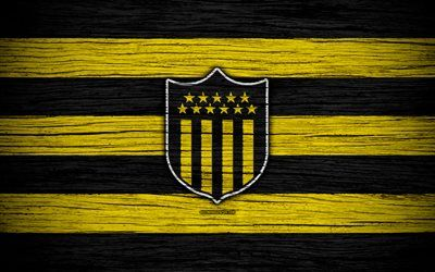 Download wallpapers 4k, Penarol FC, logo, Uruguayan Primera Division, emblem, wooden texture, Uruguay, CA Penarol, football, soccer, FC Penarol