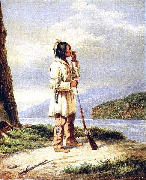 Artiste, Cornelius Krieghoff - ca1840s Huron-Wendat - La communauté de la Première Nation huronne-wendat et la réserve est à Wendake, au Québec, une municipalité maintenant enfermé dans la ville de Québec au Canada. Dans la langue française, utilisée par la plupart des membres de la Première nation, ils sont connus comme la Nation Huronne-Wendat.