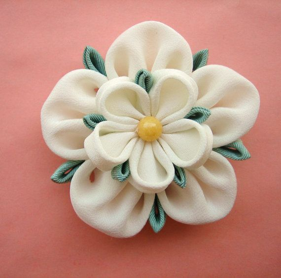 Ivory Flower Bridal Fascinator:Yorkshire Rose Kanzashi Brooch or Hair Piece