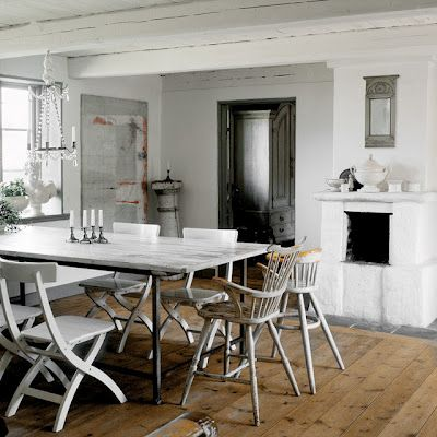 white dining room with antique details