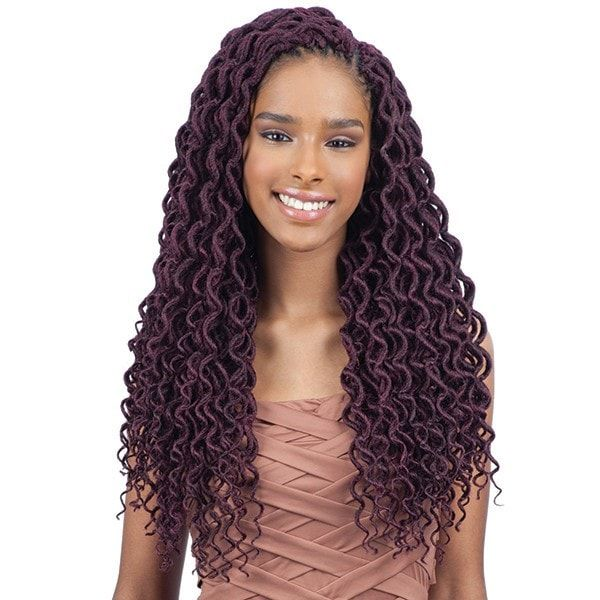 """- Hand-made, individually pre-looped - Crochet braiding hair - Soft Faux Loc Curly Lite 18"""" - Freetress braid - 2x amount of hair in one package! - Style color shown: 99J"""