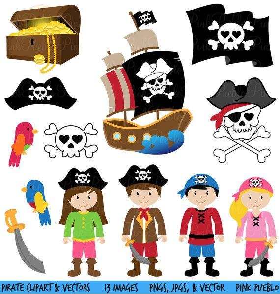 Pirate Clipart clipart et vecteurs usage Commercial par PinkPueblo