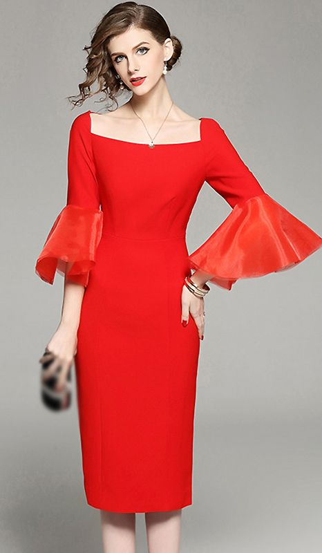 c9ea39e519782 Stylish Slash Neck Flare Sleeve Bodycon Dress | Fashion Dresses en ...