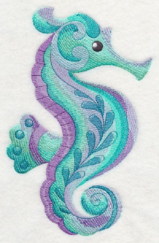 2 Caribbean Creatures In Watercolor Seahorse Embroidered
