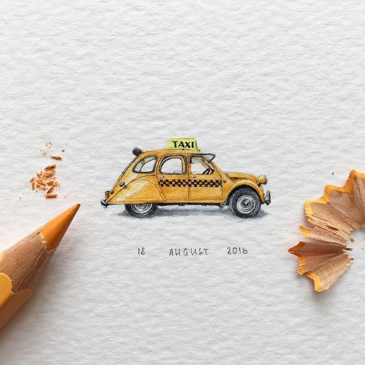 "689 Likes, 4 Comments - Irene Malakhova (@irene_mia_) on Instagram: ""Day 77/120 (20/30 #tiny_freedays series). Taxi Cab Size 28 x 13 mm. -- #taxicab #usa #nyc…"""