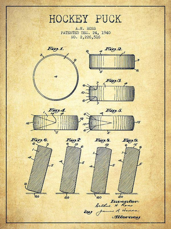 Hockey Poster featuring the drawing Roll Prevention Hockey Puck Patent Drawing…