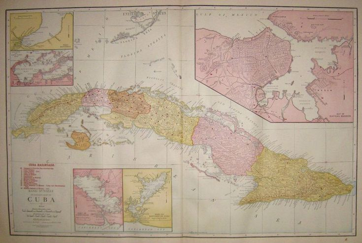 1921 Antique CUBA Map w RAILROADS Rare Poster Print Size Map of Cuba 4435