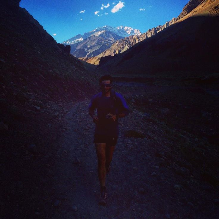 Up and down Aconcagua (You see the summit far back) 12h 49min! Kilian Jornet is a mountain animal.