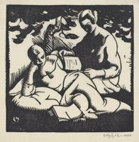 Edwin Holgate (1892-1977), Canadian / Two Readers, linocut on wove paper / National Gallery of Canada ... would make a great bookplate