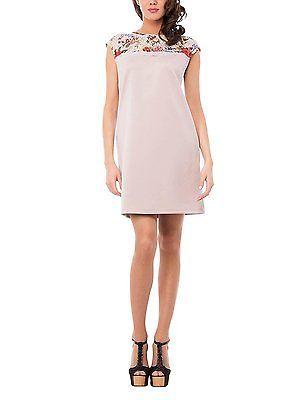 Medium, Beige, Isabella Roma Women's Abito Pizzo Floreale Dress NEW