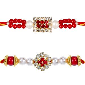 This splendid pair of rakhis are beautifully designed with diamonds, red colored beads, pearls and diamond studded motifs to make these rakhis elegant and glittering. Rs 399/- http://www.tajonline.com/rakhi-gifts/product/rdr82/diamond-rakhi-set-of-2/?aff=pint2014/