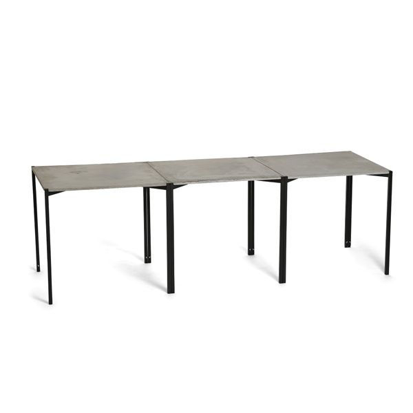 EH 6 - Dining Table. Conctrete table top and black powder painted legs. #concretetable #concrete #table #diningtable #longdiningtable #powderpaint #danishdesign