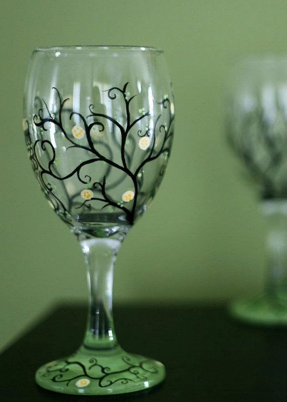 Spring Swirls Hand Painted Wine Gl