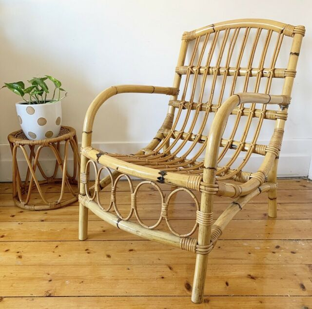 Vintage Rattan Occasional Chair Lounge Arm Chair Cane Armchairs