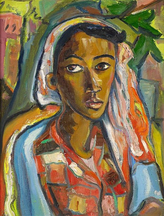 Irma Stern: Portrait of a Malay woman, (1955), oil on canvas, 66 x 52 cm, private collection, source: artfact.com.