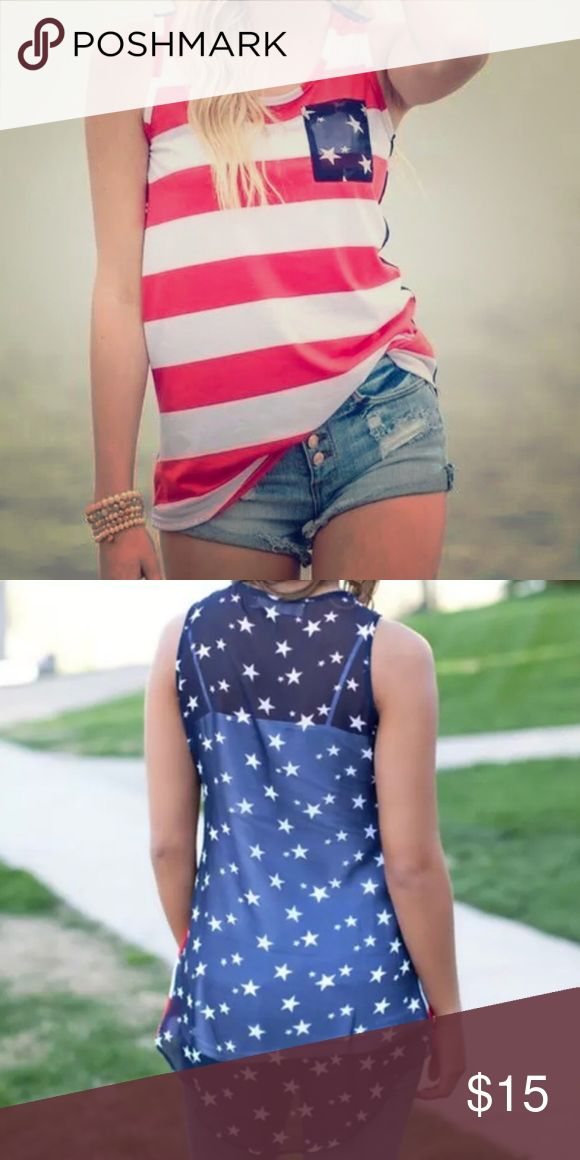 🇺🇸 American Flag Patriotic Tank Cute for the holidays over the summer. Back is sheer blue with stars. Tops Tank Tops