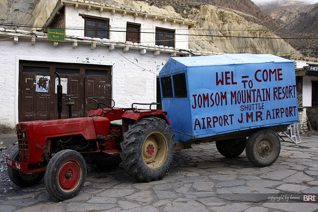 Airport shuttle service in Jomsom - at an elevation of 8,999ft .. #nepal #jomsom #travel