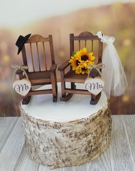 rustic wedding wood rocking chairs with sunflower bouquet camping rh pinterest com