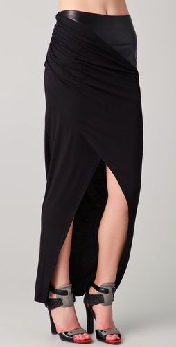 David Lerner Maxi Skirt with a Leather band on the hip.  Sexy.  Easy
