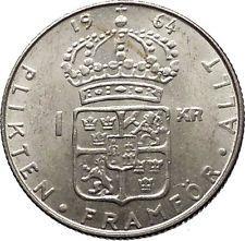 1964 SWEDEN King GUSTAV VI ADOLF Krona Silver SWEDISH Coin Coat of Arms i56600