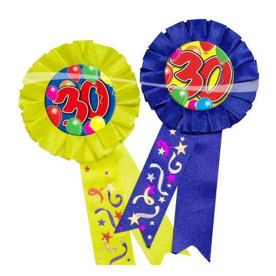 Rozet 30 jaar. Makkelijk te bevestigen aan kleding. Materiaal: stof. Leuk voor uw verjaardag of jubileum.