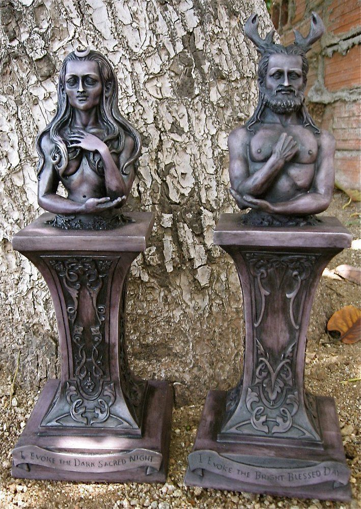 Horned God Moon Goddess Herm Pagan Wiccan Shrine Altar Statue Maxine Miller As2 Wiccan