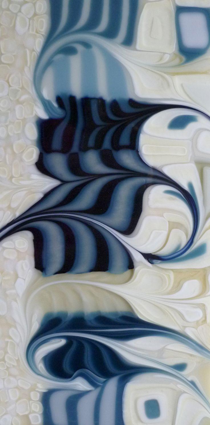 My favorite color palette so far, the blues remind me of denim. www.FusedArtGlassByKimBrill.com