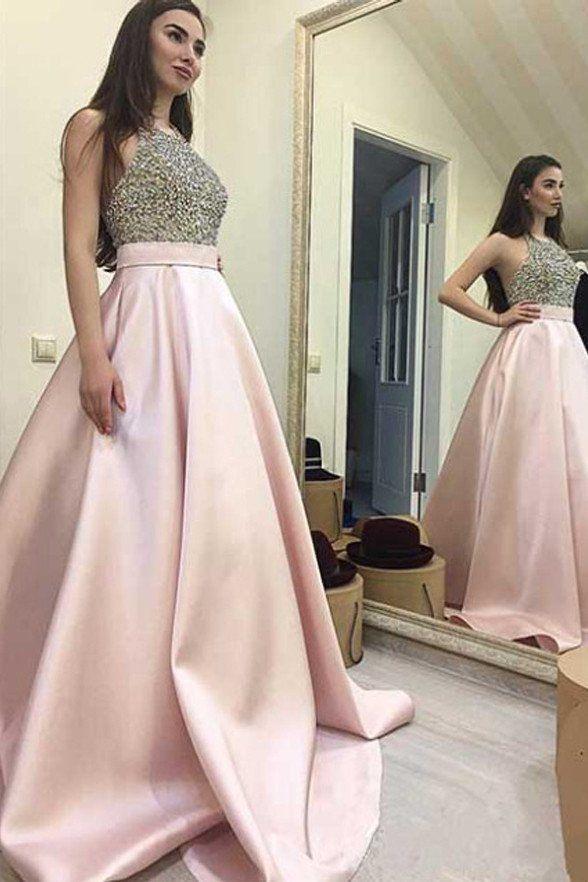 Pink Halter Evening Dresses