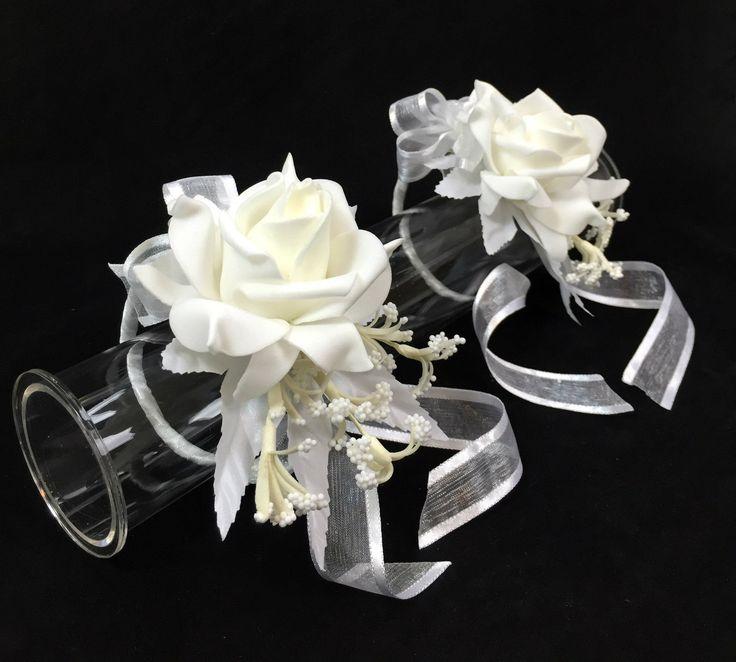 2 X Cream White Foam Rose Wrist Corsages Wedding Silk Flower Cintahomedeco | eBay