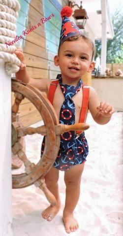 Boys Nautical Cake Smash Set, Nautical Birthday Cake Smash Outfit, Nautical Birthday Outfit