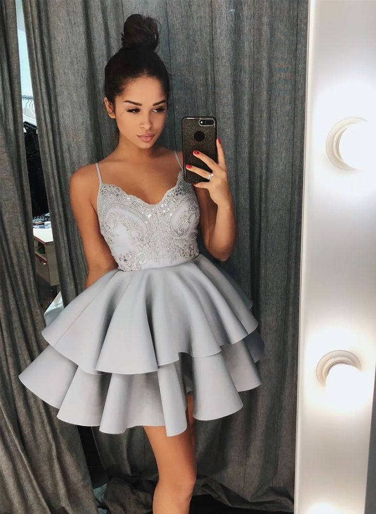 Gray v neck lace short prom dress, homecoming dress 2