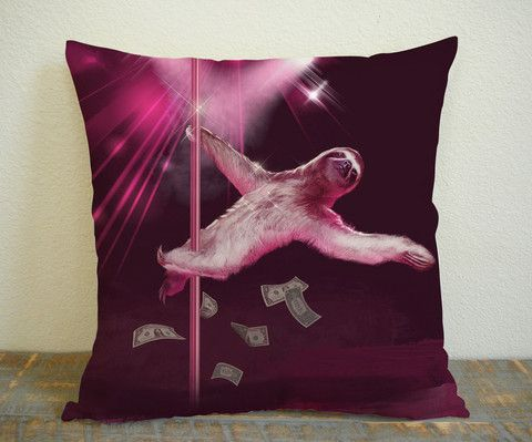 Sloth Strip for Square Pillow Case 16x16 Two Sides, 18x18 Two Sides, 20x20 Two Sides