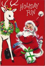 Unused Vintage Xmas Sunshine greeting card: Santa w reindeer 'Follow the Dots'