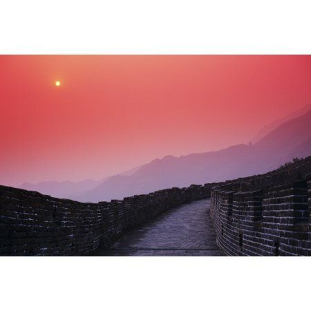China Mu Tian Yu The Great Wall Of China Bright Red Sky And Distant Moon Canvas Art - Richard Maschmeyer Design Pics (17 x 11)