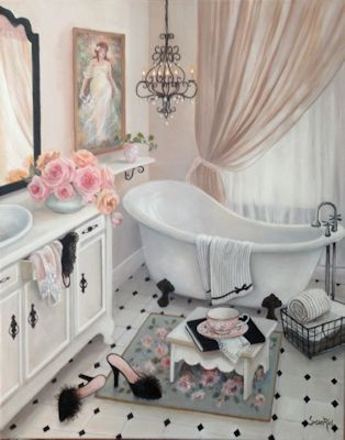 """""""Hers"""" Susan Rios Keepsakes 8 x 10 Susan Rios has been a professional artist for over 30 years. You will find her romantic illustrations in many of Emilie Barnes Tea Books and her tranquil paintings i"""