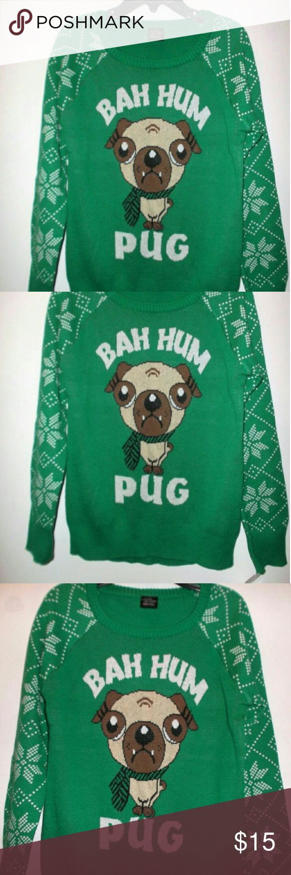 Bah Hum Pug Dog Christmas Sweater Girls Small 6 6X New with tags!   An adorable sweater by LOL Vintage.   Girls Size Small 6/ 6X.   100 % cotton.   Measures 13.5 inches across the front from underarm to underarm unstretched.  18 inches shoulder to bottom hem LOL  Vintage Shirts & Tops Sweaters